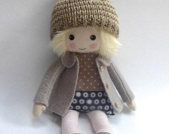 doll, handmade doll, rag doll, heirloom doll, cloth doll, blonde haired doll, fall doll, doll in woolly hat, room decor