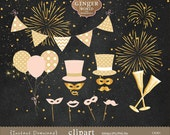 gold glitter party, party clipart, bunting banner clip art, balloon clip art, new year eves clip art