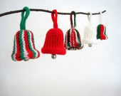 Vintage Knitted Bell Christmas Ornament Set Present Decoration Gift Add On Xmas Decor Retro Red Green White