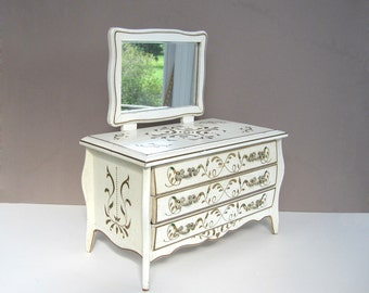 Vintage Wooden Jewelry Box Large Wood Storage Chest Drawer French Provincial Painted Shabby White Cottage Chic Dresser Mirror Gold Gilt