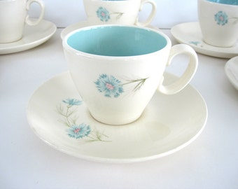 Vintage Cup and Saucer Set Turquoise Aqua Blue Floral Bachelor Buttons Cornflower Taylor Smith Taylor Boutonniere Ever Yours Set TS&T 1960s