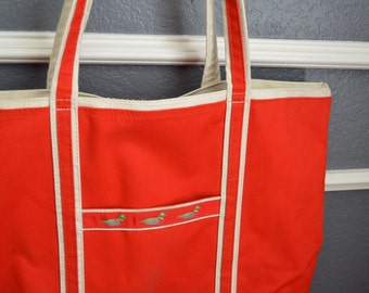 Vintage Canvas Bag Tote Shopping Bag Red White Beach Bag Tote Strap Travel Vintage Tote Ducks AD Sutton Sons SuperSac Market Hand Bag Purse