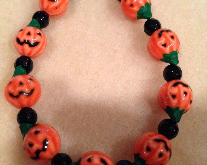 Hand Painted Glazed Halloween Orange Jack-O-Lantern Pumpkin & Onyx Faceted Bead Bracelet with Toggle Clasp
