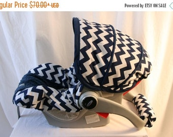 Fall SALE Navy and White Chevron Fabric  with Navy Minky - Infant car seat cover - Custom Order always comes with Free Strap Covers