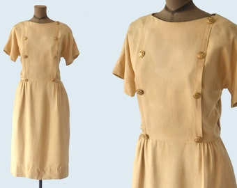 1940s Mr. Mort Gold Button Dress size M