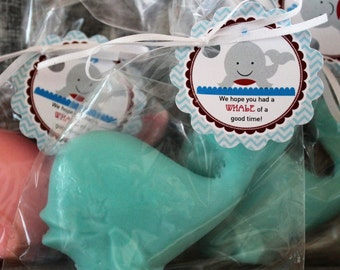 10 WHALE Party Favor Soaps:  wedding favors, birthday favors, beach favors, baby shower favors, nautical favors, whale Soap