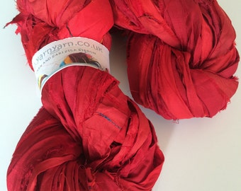 Sari silk ribbon, 100g, craft ribbon, sari yarn, rich ruby, Eco Friendly Yarn, jewelry making and arts and crafts, knitting yarn