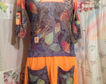 SMALL, Dragonfly Upcycled Flowerchild Hippie Eco Friendly OOAK Tunic, Short Dress