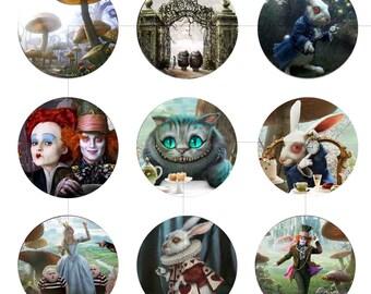 "Instant Download, Printable Art, Alice in Wonderland, Digital Collage Sheet, Bottle Caps, 1.5"", 1.25"", 1"", Circles, dcc024"