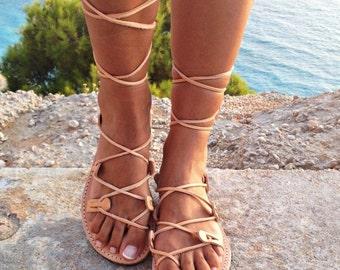 SALES leather sandals ,gladiator sandals, Greek leather lace-up Sandals,handmade sandals