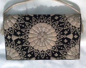 India Zari style silver wire embroidered Double sided evening bag