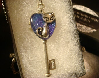 Cat Heart Key Necklace in Antique Silver- Galaxy Color Background (2100)