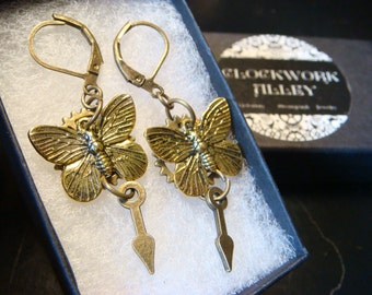Antique Bronze Butterfly with Gear and Clock Hand Steampunk Earrings (2047)