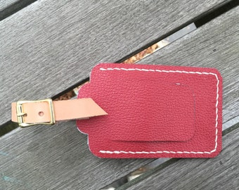 Leather Luggage Tag - Red Leather - Red Luggage Tag - Embossed Leather - Ready to Ship