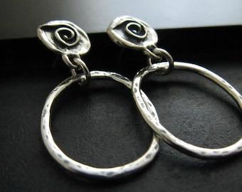 Artisan Earrings | Spiral Post Earrings | Rustic Hoop Earrings | Circle Dangle Earrings | Sterling Silver Earrings