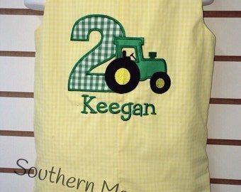 Personalized Yellow and White gingham Tractor Birthday Shortall Jon Jon with Number and Name
