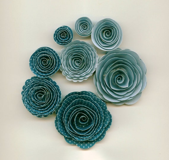 Two Tone Blue Dot Handmade Rose Spiral Paper Flowers Blue