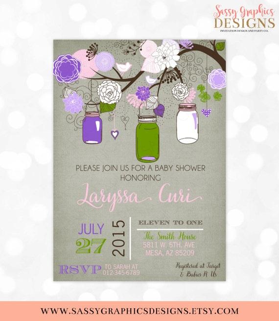 Mason jars baby shower invitation baby girl floral rustic shabby il570xn filmwisefo