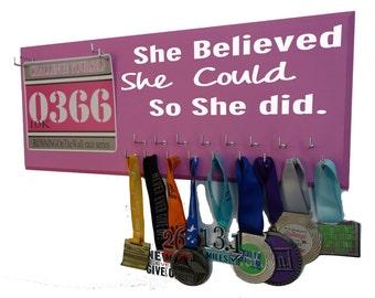 Running, Race bib Holder, runner, runner gift, half marathon, race medal holder, running bib holder, She believe she could so she did.