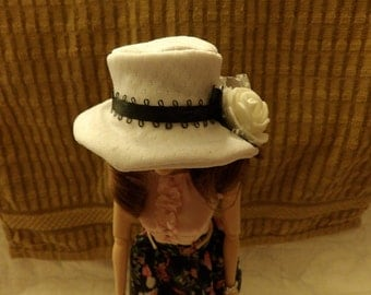Easter hat in white with black Satin ribbon & white flower for Fashion Dolls - seh6