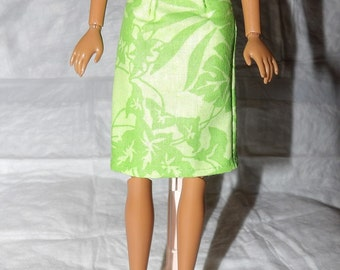 Fashion Doll Coordinates - Skirt in lime green with white leaf print - es377