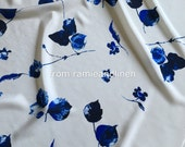 """Silk fabric, china blue floral print crepe de chine mulberry silk fabric, half yard by 55"""" wide"""