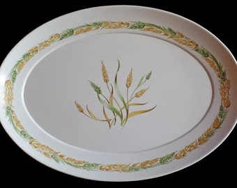 Vintage turkey platter plate serving dish tray melmac melamine gold green wheat