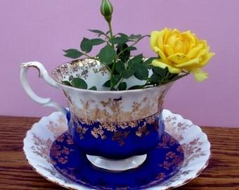 Royal Albert REGAL SERIES Bone China Teacup & Saucer #4396 Cobalt Blue