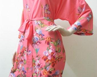SALE-FLORAL Bridesmaid Robes, wedding robes, bridesmaid silk robe, dressing gown, personalized robe, kimono robes, floral robe, bridal robe
