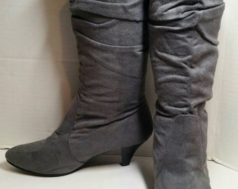 Gray Faux Suede Slouch Boots