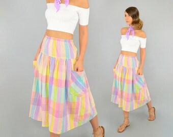 80's PASTEL Midi Skirt W/ Pockets