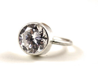 CZ diamond ring -  solitaire diamond ring -  faux diamond ring -  large cocktail ring -  statement ring