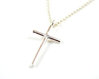Silver Cross necklace -  skinny cross necklace -  cross pendant -  sterling silver jewelry