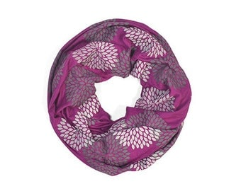 INFINITY SCARF - Screen Printed - Gray Flowers on Fuschia