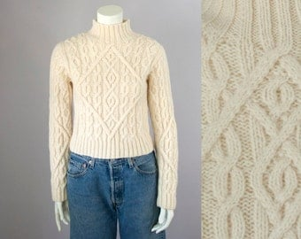 90s Vintage Cream Wool Chunky Cable-Knit Cropped Mock Turtleneck Sweater (S)