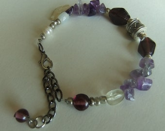 Gypsy Midnight Bracelet with Vintage Beads
