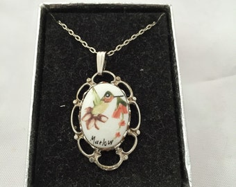 Vintage Painted Hummingbird Charm Necklace by Marlow