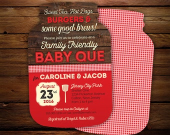 babyq invitations, Mason Jar Invitations, BBQ baby shower invitations, barbecue invites, 10 die cut printed cards in any color