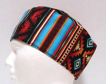 Mens Surgical Scrub Cap or Chemo Cap Southwest Stripes