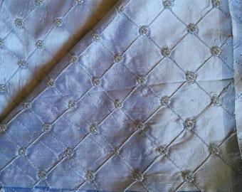 Beaded Light Blue Silk Dupioni Fabric. 4yards