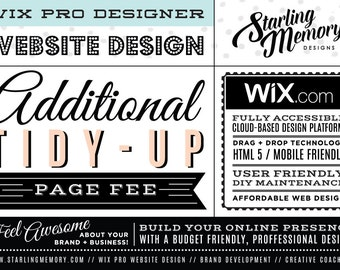ADDITIONAL TIDY-UP Wix Website Page Fee - Wix Website Design Package Add-On - Wix WebDesign Package Add-On - Wix Pro Designer Package