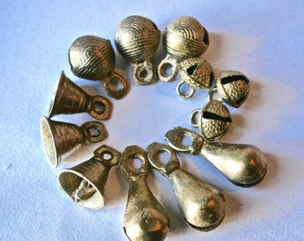 Brass Bells from India Three Each of Four Designs for Crafting and Decor