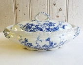 Beautiful Vintage Flow Blue Transferware Covered Vegetable Casserole with Handles - Gladys Pattern - W. Adams & Co. - Covered Dish or Bowl
