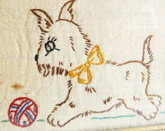 Vintage Embroidered Dog Picture in Gold Frame - 1930s or 1940s - Framed Nursery Decor - Child's Room Wall Hanging