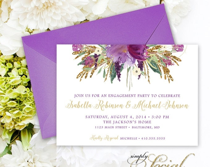 Purple Engagement Party Invitation - Glitter Glam Sparkling Amethyst Purple Watercolor Flowers Engagement Party Invitation Printable