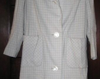 Vintage 1960s Gray and Cream Plaid Wool Coat M