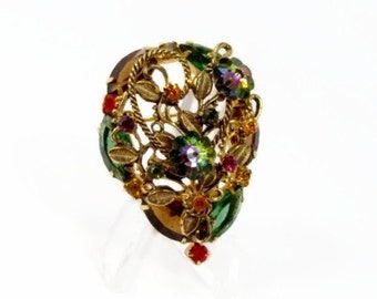 Rivoli Rhinestone Brooch, Vintage Jewelry, Open Back Rhinestones, 1960s Jewelry, Floral Design, Green Rhinestone, Estate Jewelry, Brooch,Pin