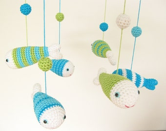 Crochet Fish Sea Nursery Decoration, Baby Mobile in blue and green shades, Nautical Baby Shower Gift for a newborn