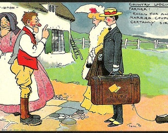COUNTRY HONEY MOON British Comic illustrates postcard by Tom Browne Antique unused Post Card