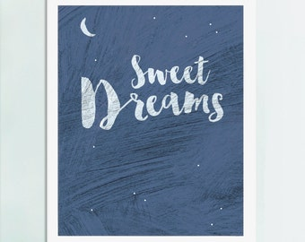 Nursery Art, Bedroom Art, Sweet Dreams, Art Print, Bedroom Art, New Baby Art